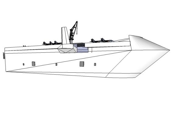 Com uma planta de 45.000 toneladas, apesar de tratar-se de uso mercante, o navio deverá suportar 8 caças + 2 S2T AEW + 2 HE ASUW